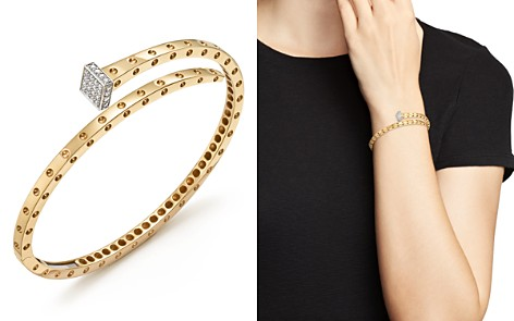 Roberto Coin 18K Yellow and White Gold Pois Moi Chiodo Bangle with Diamonds - 100% Exclusive - Bloomingdale's_2