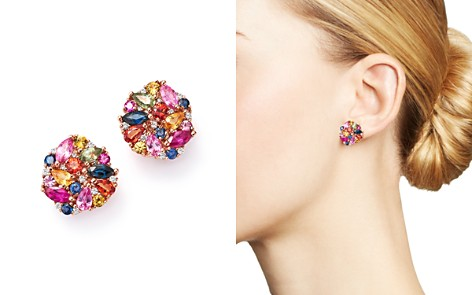 Multi Sapphire and Diamond Cluster Earrings in 14K Rose Gold - 100% Exclusive - Bloomingdale's_2
