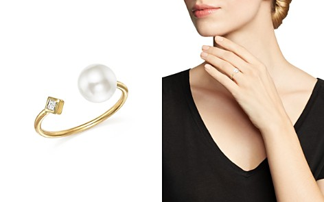 Zoë Chicco 14K Yellow Gold Open Ring with Cultured Freshwater Pearl and Diamond - Bloomingdale's_2