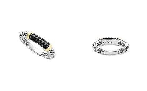 LAGOS Black Caviar Ceramic 18K Gold and Sterling Silver 2 Station Stacking Ring - Bloomingdale's_2