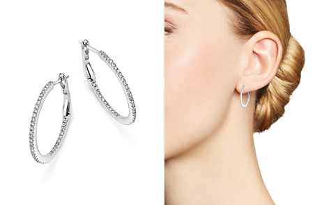 Diamond Micro Pavé Inside Out Hoop Earrings in 14K White Gold, .25 ct. t.w. - 100% Exclusive - Bloomingdale's_2