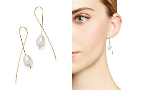 Cultured Freshwater Pearl Sweep Earrings in 14K Yellow Gold, 8mm - Bloomingdale's_2