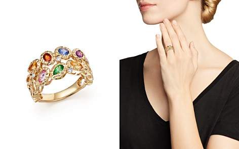 Multicolor Sapphire and Diamond Band in 14K Yellow Gold - Bloomingdale's_2