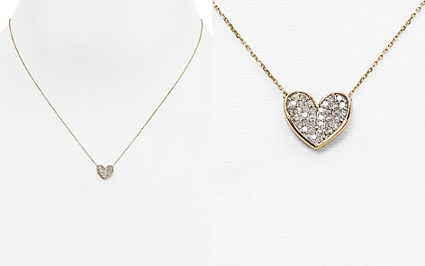 "Adina Reyter 14K Yellow Gold Folded Heart Pendant Necklace with Diamonds, 14"" - Bloomingdale's_2"
