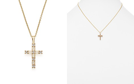 Diamond cross necklaces bloomingdales kc designs 14k yellow gold diamond cross pendant necklace 16 bloomingdales2 aloadofball Images