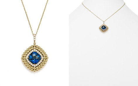 """London Blue Topaz and Diamond Beaded Pendant Necklace in 14K Yellow Gold, 16"""" - 100% Exclusive - Bloomingdale's_2"""