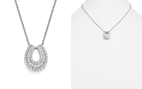 Diamond Round and Baguette Horseshoe Pendant Necklace in 14K White Gold, 2.0 ct. t.w. - 100% Exclusive - Bloomingdale's_2