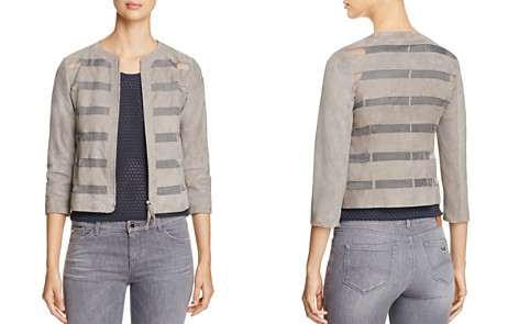 Armani Collezioni Sheer Inset Suede Jacket - Bloomingdale's_2
