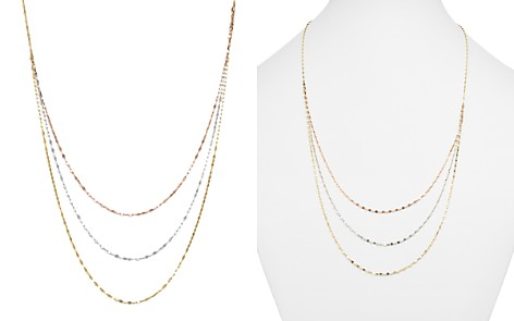"14K Yellow, White, and Rose Gold Three Strand Flat Link Chain Necklace, 28"" - 100% Exclusive - Bloomingdale's_2"