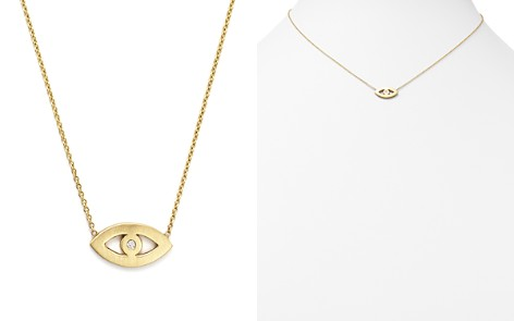 "Zoë Chicco 14K Yellow Gold Evil Eye Diamond Necklace, 16"" - Bloomingdale's_2"