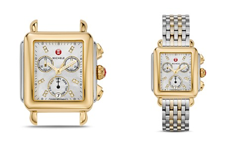 MICHELE Deco Day Two-Tone Diamond Dial Watch Head, 33 x 35mm - Bloomingdale's_2