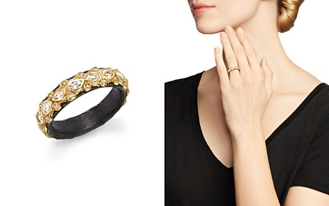 Armenta 18K Yellow Gold and Blackened Sterling Silver Old World Diamond and White Sapphire Stacking Ring - Bloomingdale's_2