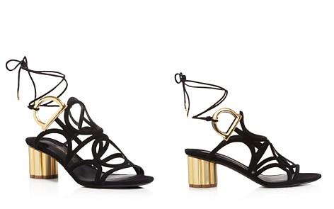 Salvatore Ferragamo Women's Vinci Suede Lace Up Floral Heel Sandals - Bloomingdale's_2