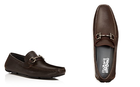 Salvatore Ferragamo Men's Parigi Double Gancini Bit Pebbled Leather Loafers - Bloomingdale's_2