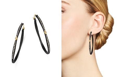 Armenta 18K Yellow Gold and Sterling Silver Old World Pavé Diamond Oval Hoop Earrings - Bloomingdale's_2