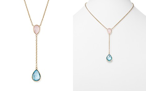 """Blue Topaz and Rose Quartz Y Necklace in 14K Yellow Gold, 18"""" - 100% Exclusive - Bloomingdale's_2"""