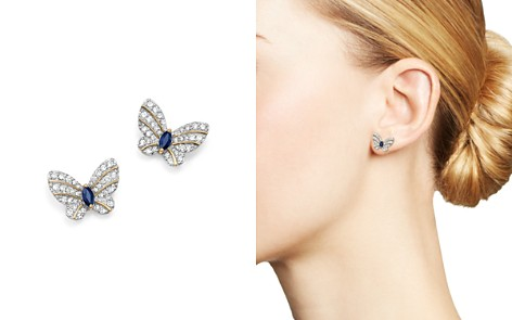 Diamond and Blue Sapphire Butterfly Stud Earrings in 14K Yellow Gold - 100% Exclusive - Bloomingdale's_2