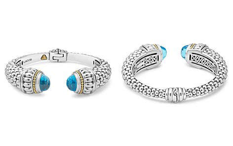 LAGOS 18K Gold and Sterling Silver Caviar Color Swiss Blue Topaz Cuff, 14mm - Bloomingdale's_2