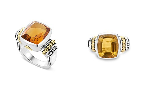 LAGOS 18K Gold and Sterling Silver Caviar Color Medium Citrine Ring - Bloomingdale's_2