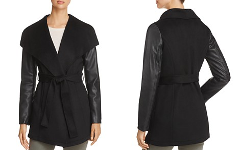 Laundry by Shelli Segal Contrast Sleeve Wrap Coat - Bloomingdale's_2