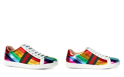 Gucci Metallic Rainbow Stripe Lace Up Sneakers - Bloomingdale's_2