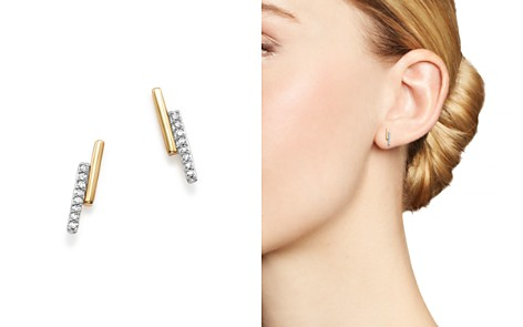 Adina Reyter 14K Yellow Gold Pavé Diamond Crossover Bar Stud Earrings - Bloomingdale's_2