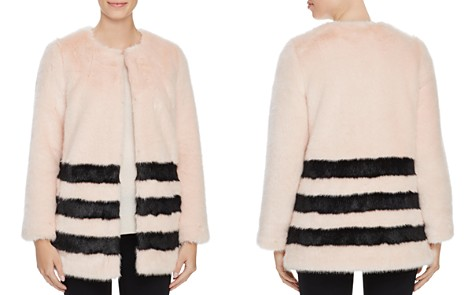 Love Token Contrast Striped Faux Fur Coat - Bloomingdale's_2