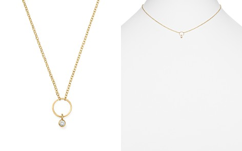 """Zoë Chicco 14K Yellow Gold Circle Pendant Necklace with Diamond, 16"""" - Bloomingdale's_2"""