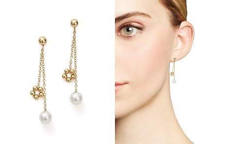 Bloomingdale's Cultured Freshwater Pearl & Beaded Dangle Charm Earrings in 14K Yellow Gold - 100% Exclusive_2