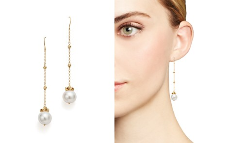 Bloomingdale's Cultured Freshwater Pearl and Beaded Chain Earrings in 14K Yellow Gold - 100% Exclusive_2