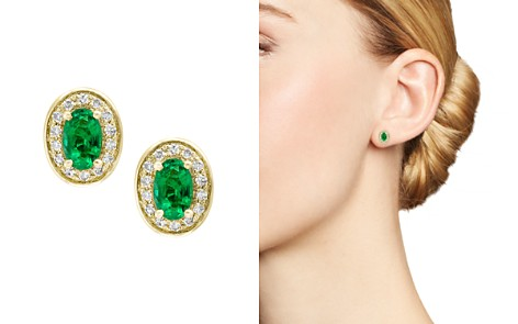 Bloomingdale S Emerald Diamond Halo Stud Earrings In 14k Yellow Gold 100 Exclusive 2