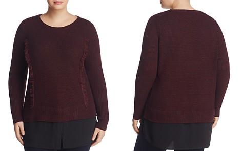 Foxcroft Plus Sophia Mixed Media Shirttail Sweater - Bloomingdale's_2