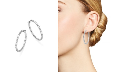 Bloomingdale's Diamond Inside Out Hoop Earrings in 14K White Gold, 5.0 ct. t.w. - 100% Exclusive_2