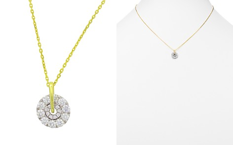 """Frederic Sage 18K White & Yellow Gold Firenze Small Spinning Diamond Cluster Pendant Necklace, 16"""" - Bloomingdale's_2"""