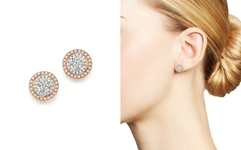 Bloomingdale's Diamond Halo Stud Earrings in 14K White & Rose Gold, .50 ct. t.w._2