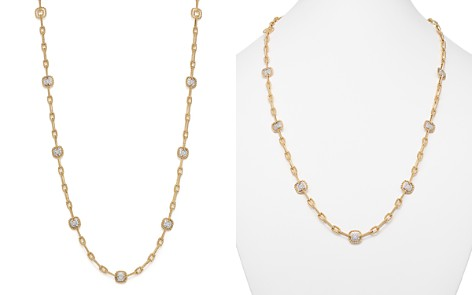 "Roberto Coin 18K White & Yellow Gold New Barocco Diamond Square Station Link Necklace, 30"" - Bloomingdale's_2"