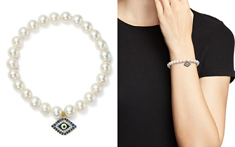 Bloomingdale's Cultured Freshwater Pearl, Sapphire & Diamond Evil Eye Charm Stretch Bracelet in 14K Yellow Gold - 100% Exclusive _2