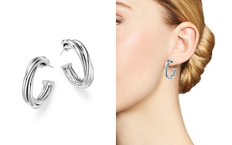 Roberto Coin 18K White Gold Classic Twisted Hoop Earrings - Bloomingdale's_2
