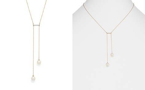 """MATEO 14K Yellow Gold Cultured Freshwater Pearl & Diamond Bar Lariat Necklace, 18"""" - Bloomingdale's_2"""
