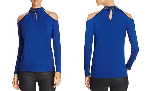 Design History Embellished Collar Cold-Shoulder Top - Bloomingdale's_2