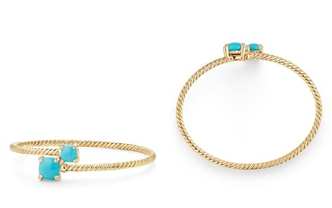 David Yurman Châtelaine Bypass Bracelet with Turquoise & Diamonds in 18K Yellow Gold - Bloomingdale's_2
