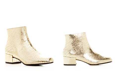Freda Salvador Women's True Metallic Embossed Leather Mid Heel Booties - Bloomingdale's_2