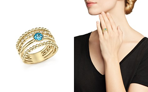 Bloomingdale's Diamond & Blue Topaz Wide Beaded Band in 14K Yellow Gold - 100% Exclusive _2