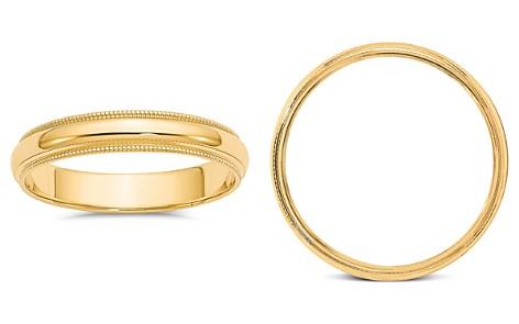 Bloomingdale's Men's 4mm Milgrain Half Round Wedding Band 14K Yellow Gold - 100% Exclusive_2