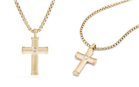 David Yurman Streamline Cross Tag with Diamonds in 18K Gold - Bloomingdale's_2