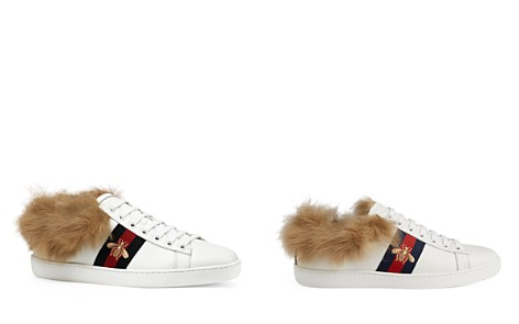 Gucci Women's Ace Leather & Lamb Fur Lace Up Sneakers	- Bloomingdale's_2