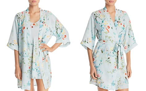 Flora Nikrooz Alison Crepe Kimono & Chemise - Bloomingdale's_2