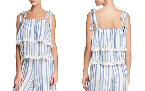 Lost + Wander Marina Tiered Lace-Trimmed Striped Top - Bloomingdale's_2