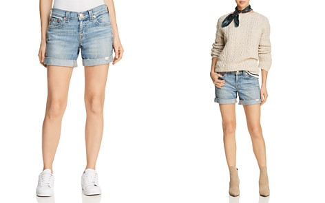 True Religion Jayde Mid Rise Rolled Denim Shorts in Bright Skyfall - Bloomingdale's_2