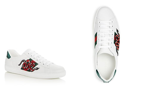 Gucci Men's Snake Appliqué Leather Lace Up Sneakers - Bloomingdale's_2